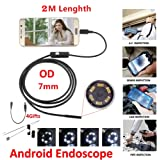 Campro 2019 7 mm Waterproof Mini Endoscope USB Wire Snake Tube Inspection Borescope for Android Smartphone PC (Black)