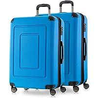 Happy Trolley - Lugano Ensemble de Valise, Set de valises, Jeu de valises, très légère, TSA, (2XXL), Bleu Cyan