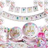 Yidaxing 131 Piezas Decoraciones Cumpleaños Unicornio, Unicorn Party Kit Mantel Cubierta Feliz Cumpleaños Banner Bolsa Globos