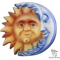 ARTEPACO - Sole Luna, Decorazione da Parete, in Ceramica, Abbellimento Casa e Giardino, Misura 21 cm