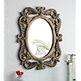 The Urban Store Wood Hand Crafted Antique Gold Finish En Oval Shape Vanity Wall Mirror for Living Room, 24X20 Inches (Multico