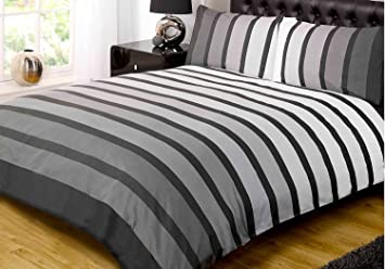 soho black stripe duvet cover quilt bedding set black white grey single by rapport