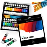 Ohuhu Set Completo di Vernice acrilica 24 Colori ricchi di pigmenti - 6 pennelli artistici - per Pittura su Tela, Argilla, Ce