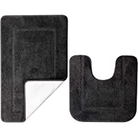 SOANNY Black Bath Mat Set of 2, High Density Soft Microfiber Non Slip Bathroom Mats with Water Absorbent, 53 X 86 CM…
