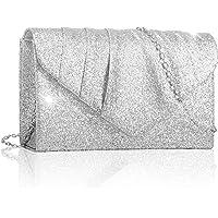 Larcenciel Damen Clutch, Glitzer Abendtasche Umhängetasche Handtasche mit Abnehmbarer Kette Elegante Envelope Tasche für…