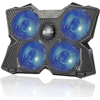 iclever Wind Raffreddatore per PC portatile - Il Pi霉 Potente - Azione Rapida - 4 Ventole con Supporto per Gaming PC (Blu)