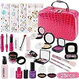 FancyWhoop Maquillaje Niñas Set 25 Piezas Set de Maquillaje con 4 Pegatinas de Joyas cosmético Lavable Maquillaje de Juguete