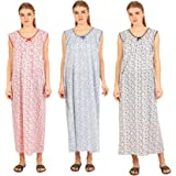CIERGE Cotton Printed Maxi Nighty (Pack of 3) (CIERGE-SLEEVELESS-COMBO-3_Multicolored)