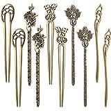 10 Pezzi Cinese Donne Bacchette per Capelli Antico Bronzo Decorativo Spilla per Capelli Vintage Capelli Bastoni per Capelli D