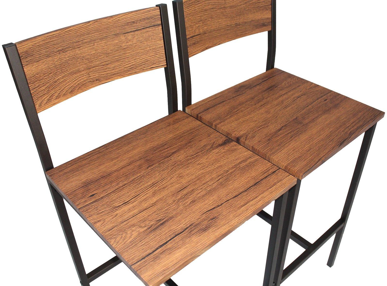 Yelloo set tavolo bar e 2 sgabelli marrone pizzeria h.96cm cucina