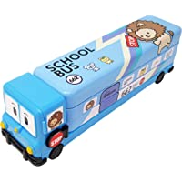 Parteet Multicolour Cartoon Printed School Bus Matal Pencil Box with Moving Tyres and Sharpner for Kids (Blue)