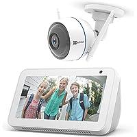Echo Show 5 – Bianco + EZVIZ ezTube 1080p Telecamera di sicurezza, compatibile con Alexa