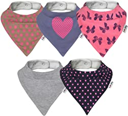 Lovjoy Bandana Dribble bibs, Super Absorbent & Soft for Teething Babies. Fits Newborn to 3 years. Best Baby Gift, GIRLS 5 PACK (Love Polka)