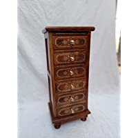 Fine Wood Crafts Sheesham Handcrafted Wooden Stand with Carving and Brass Work On Top and Legs for Living Room and Bed…