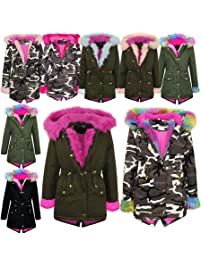 51d8c3b3 A2Z 4 Kids® Kids Girls Hooded Jacket Designer's Rainbow Faux Fur Parka  School Jackets Outwear