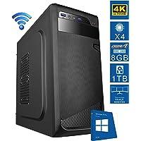 PC DESKTOP computer fisso • LICENZA WINDOWS 10 PRO • assemblato completo Intel QUAD-CORE 1.5 ghz • RAM DDR4 8gb • HDD 1tb • MASTERIZZATORE • WIFI • SATA 3 + USB 3.0 • DILC GREEN HIGH D4