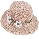 Stroh Sommerhut für Mädchen Kinder Atmungsaktiver Strand Sonnenhut Breite Faltbar mit Blumendekoration für den Urlaub Reise O