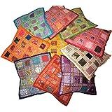 Pushpacrafts, Kussenslopen van katoen met borduurwerk & patchwork, Indiase stijl, 10 stuks