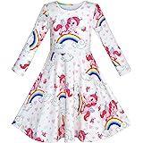 Sunny Fashion Vestido para niña Unicornio Arco Iris Manga Larga Casual 3-8 años