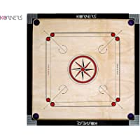 KORNERS Combo of Full Size Carrom Board (Large 32' Inches) with Coins, Striker & Carrom Powder (32' Inches Round Pocket)
