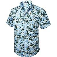 HISDERN Uomo Funky Camicie Hawaiana Manica Corta Tasca Frontale Vacanze estive Aloha Stampato Beach Casual Hawaii…