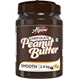 Alpino Chocolate Peanut Butter Smooth 2.4 KG | Made with Roasted Peanuts, Cocoa Powder & Choco Chips | 20% Protein | Non GMO