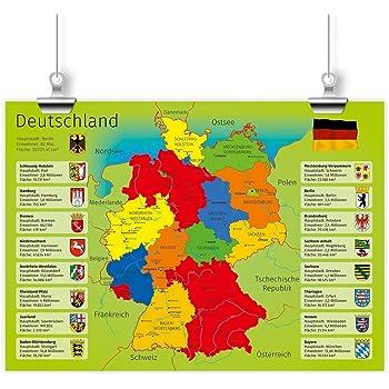 Nikima Kinder Lernposter Deutschland Mit Bundesländern Plakat
