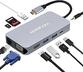 USB C Hub Type C Adapter Multiport mit HDMI 4K, 1080P VGA, 3.5mm Audio Ausgang, RJ45 Gigabit Ethernet, 3 USB 3.0 Ports , SD/TF Kartenlesegerät mit Typ C PD Ladegerät Anschluss für Macbook Pro,ChomeBook,HP Spectre X360, Surface Pro (Space Gray)