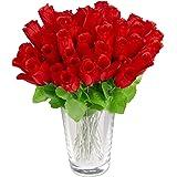 Relaxdays rood, kunstrozen, kunstbloemen, kunstmatige decoratieve bloemen, 48 stuks met steel en bladeren, hoofden, h: 26 cm,