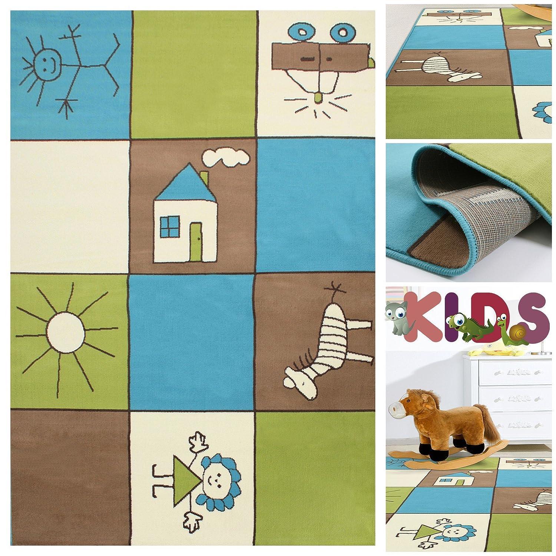 Teppich kinderzimmer grün blau  Amazon.de: Kinderteppich Spielteppich Bunt Kariert mit Kästchen ...
