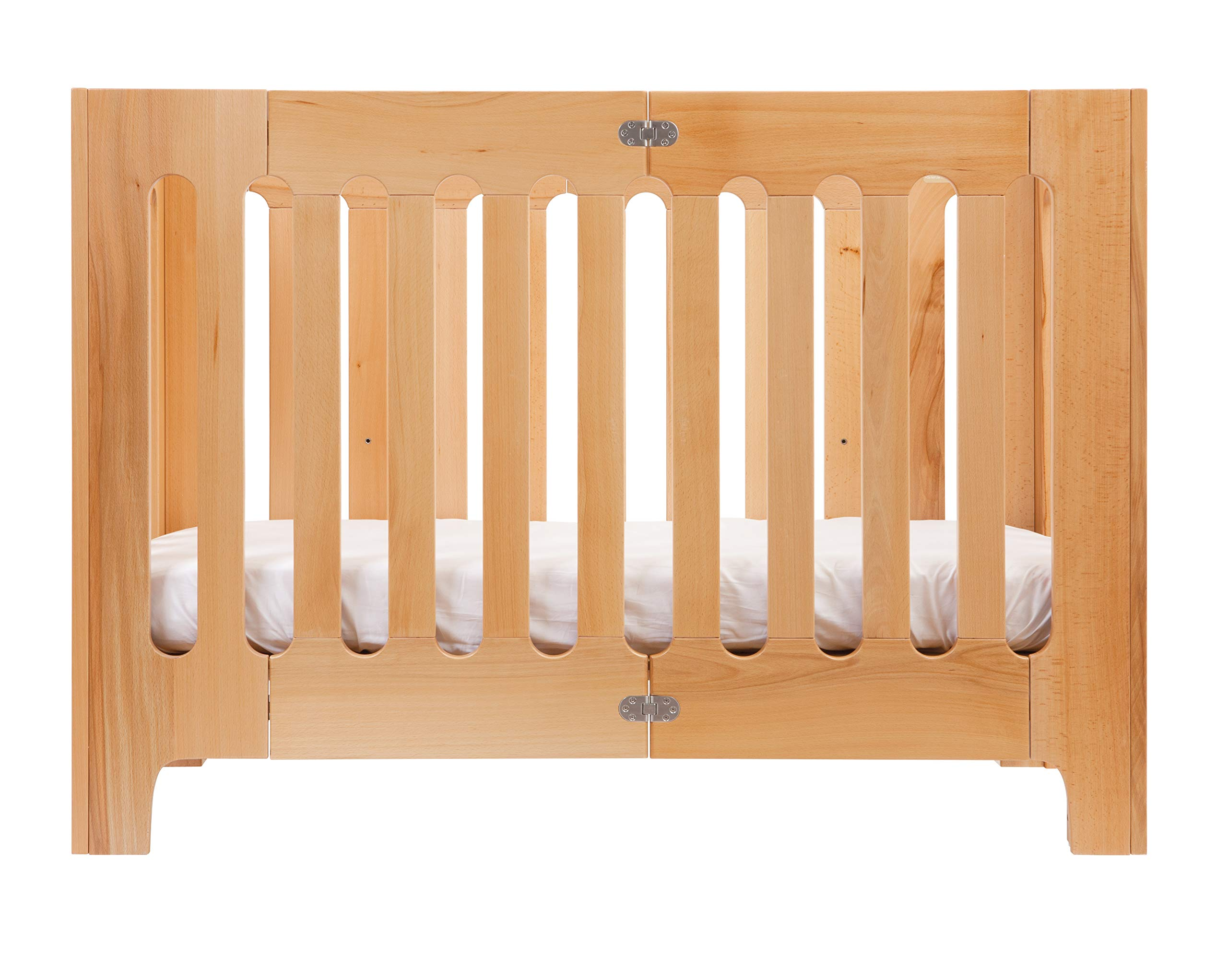 Bloom Alma Papa Baby Crib/Cot (Convertible, Sold Wood, 0-4 Years) (Natural)  Alma Papa is suitable from newborn to 4 years, beautiful, modern solid wood crib with 2 mattress heights allow use as a bassinet & full-size crib patented compact-fold construction for easy storage & transport (durable storage bag available separately) open slats on all four sides maximize all important air-flow 1