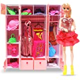 WISHKEY Doll with Complete Wardrobe Set Full of Dresses and Accessories for Girls (Multicolour)