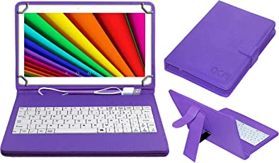 ACM USB Keyboard Case for Ikall N10 Tablet Cover Stand with Free Micro USB OTG - Purple