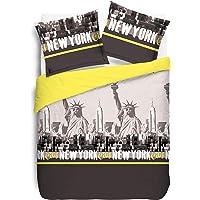 Vision New York Jaune - Housse de Couette 140x200cm + 1 taie Assortie - 100% Coton