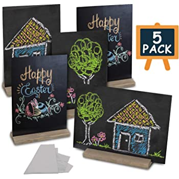 Meetory 10 Sets Chalkboards with Wooden Stand-5 Sets 5x6 inch Vintage Rustic Chalkboard and 5 Sets Mini Cute Decorative Chalkboard Signs for Wedding and Party