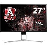 AOC Agon AG271QX 68,58 cm (27 Zoll) Monitor (DVI, HDMI, USB Hub, DisplayPort, 1ms Reaktionszeit, 144 Hz, 2560x1440, Free-Sync) schwarz/rot