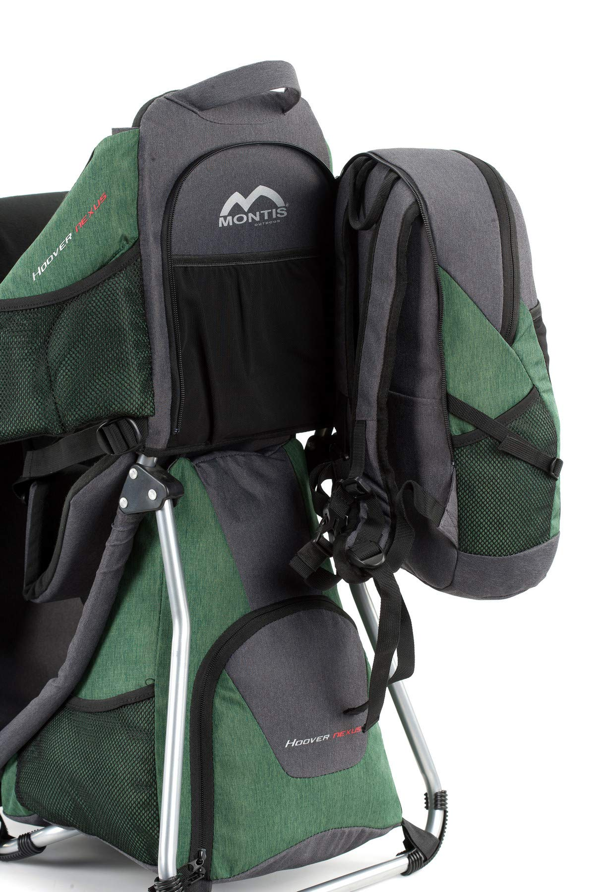 Montis HOOVER NEXUS, Child Hiking Backpack Carrier, suitable for babies & toddlers with a stable seat, low weight suitable, many extras, premium quality (GREEN) M MONTIS OUTDOOR ✅ SAFE - Practical baby carrier backpack completely adjustable with wide 5-point child harness for children weighing up to 25 kg instead of 20 kg. Thanks to height-adjustable seat cushions, padded side panels, a rear headrest, and forehead cushions, it is ideal for hiking in the city or in the country. With reflective elements on the front and back for night protection. ✅ COMFORTABLE - Suitable for both parents thanks to adjustable shoulder straps, a 14 cm adjustable chest strap with a vertical position for women's ergonomics, and reinforced back area (incl. ventilation system) with load distribution to the pelvic belts. We use materials of the highest quality and focus on flawless manufacturing. ✅ SPACIOUS - Removable additional backpack 10L and seat pocket with 18L volume provide the carrier with additional storage space for water bottles, rain protection, sun protection, changing mat and much more. In addition, the straps of the baby carrier are equipped with small quick-access pockets to avoid the need of constantly taking off the carrier. 7