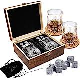 Ensemble de Verres à Whisky - Coffret Cadeau Bois - 8 Glaçons en Pierre Réutilisables - Lot de 2 Verres Cristal à Bar pour Ho