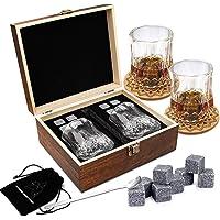 Ensemble de Verres à Whisky - Coffret Cadeau Bois - 8 Glaçons en Pierre Réutilisables - Lot de 2 Verres Cristal à Bar…