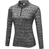WOWENY Giacca Sportiva Termica per Donne, T-Shirt da Donna da Corsa Sportive a Maniche Lunghe e con 1/4 Zip Tops (più Cashmer