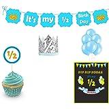 Untumble Boy's Half Birthday Decorations, Boy Half-Birthday Photo Shoot Pack, Blue Six Month Blue Birthday Party kit, 6…