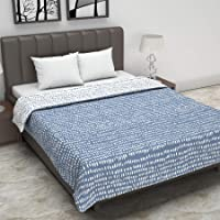 Divine Casa Polyester120 GSM Dohar(Double_White & Blue)