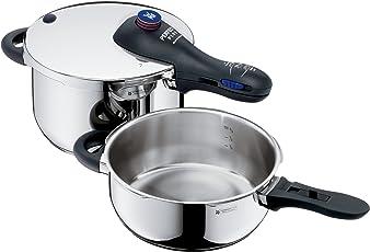 WMF Perfect Plus Schnellkochtopf Set 2-Teilig 4,5l und 3,0l, Cromargan Edelstahl Poliert, 2 Kochstufen Einhand-Kochstufenregler, induktionsgeeignet, spülmaschinengeeignet, Ø 22 cm