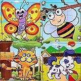 SIPLIV puzzle en bois 9 pièces pour les enfants de 2 à 5 ans, ensemble de 4, bétail et insecte