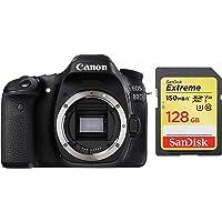 Canon EOS 80D 24.2MP Digital SLR Camera (Black) Body + SanDisk 128GB Extreme SDXC UHS-I Card - C10, U3, V30, 4K UHD, SD Card