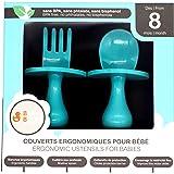 BABY BOOM Couverts ergonomiques pour bébé Coffret cuillère et fourchette - A partir de 8 mois - Apprentissage du repas seul a