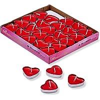 THE TWIDDLERS 50 Bougies Chauffe-Plat Amour Coeur Rouge, 3,8cm - sans Fumée