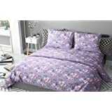 haus & kinder Chic Floral Art 100% Cotton Double Bedsheet with 2 Pillow Covers 186 TC (Violet)