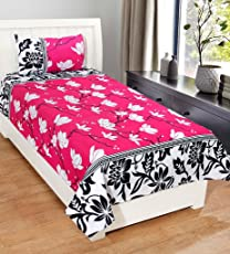 Homefab India 140 TC PolyCotton Floral Printed Double Bed Sheet with 2 Pillow Cover - MultiColor
