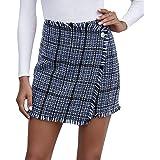 Frecoccialo Falda a Cuadros para Mujer Falda Mini Sexy Cintura Alta A-Line de Moda Falda Vestido Otoño Primavera Invierno Fal
